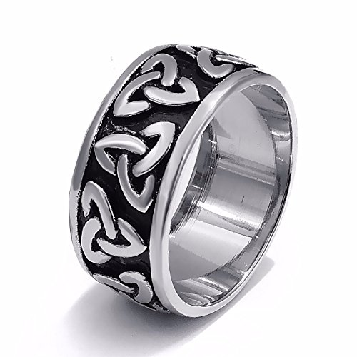Elfasio 10mm Mens Womens Stainless Steel Ring Band Silver Black Celtic Knot Fashion jewelry Size 7-13