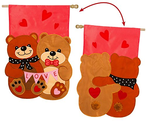 Evergreen Love Bears All Things Applique House Flag, 29 x 43 inches