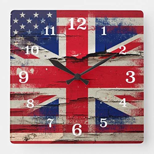 British Clock - TattyaKoushi 15 by 15-inch Wall Clock, Crackle Paint British American Flag Square Wall Clock, Living Room Clock, Home Decor Clock