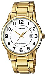 Casio #MTP-V002G-7B Men's Standard Analog Gold Tone Stainless Steel Date Watch