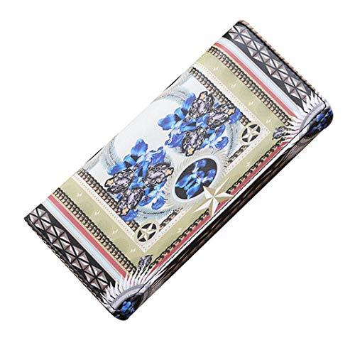 Borisdar Women Fashion Print Square Shape Magnetic Buckle Closure Bi-fold Long Wallet Wallets
