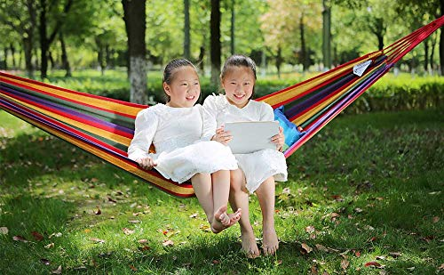 Garden and Outdoor PIRNY Single Cotton Hammock,Hanging Swing Bed,Up to 400 Lbs,incude 20 ft of Tree Swing Straps and 2 Carabiner,for Indoor… hammocks
