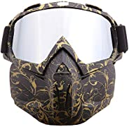 SPOSUNE Motorcycle Goggles Detachable Face Mask, ATV Dirt Bike Paintball Goggle Anti-Scratch UV400 Eyewear for