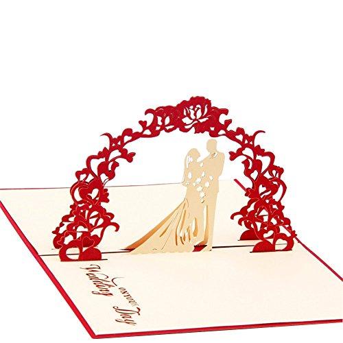 HeartMoon Sweet Wedding 3D Pop up Greeting card Matching Envelope Laser Cut Handmade Invitation Birthday Post Card Thank you Gift
