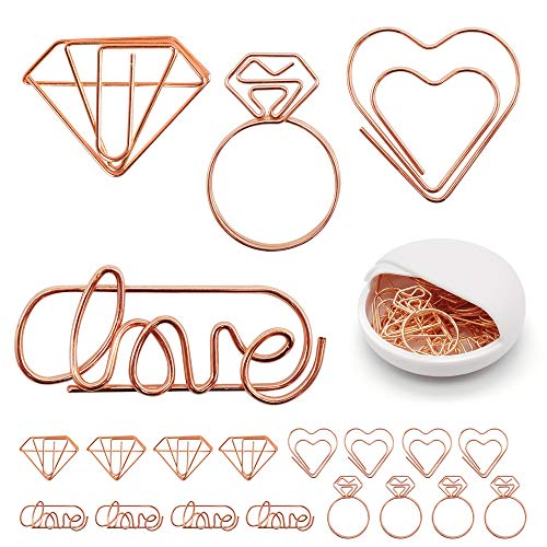 Cute Paper Clips, Love Heart Diamond Ring Shape Assorted Small Paperclips - Funny Bookmark Marking Clips for Office School Wedding Party Invitation Valentine Decoration - Planner Paperclips (20 pcs) (Heart Paperclip Bookmark)