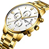 NIBOSI Men's Watches Sports Army Chronograph Waterproof Military Quartz Wristwatches For Men Luxury Golden Watch White Color