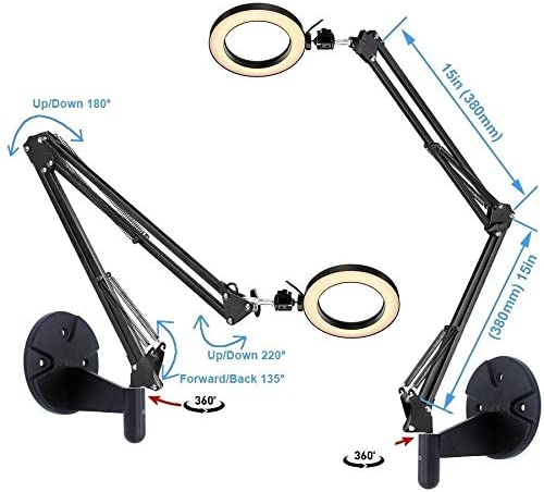 Wall Mount Light 6 USB Ring Light with Wall Swivel Mount for YouTube Task Craft Architect Drafting Repair Makeup Acetaken
