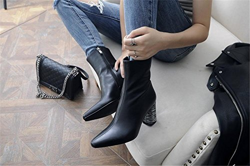 NVXIE Womens Ladies Ankle Boots Black Pointed Martin Shoes Genuine Leather Autumn Winter Chunky High Heels Side Zipper BLACK-EUR42UK85 GyhkttRYiC