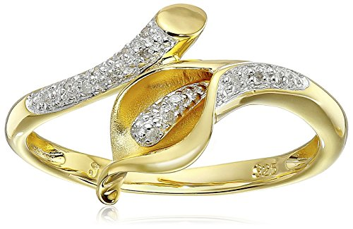Yellow Gold Plated Sterling Silver Calla Lily Diamond Ring (0.06 cttw, I-J Color, I2-3 Clarity), Size 8