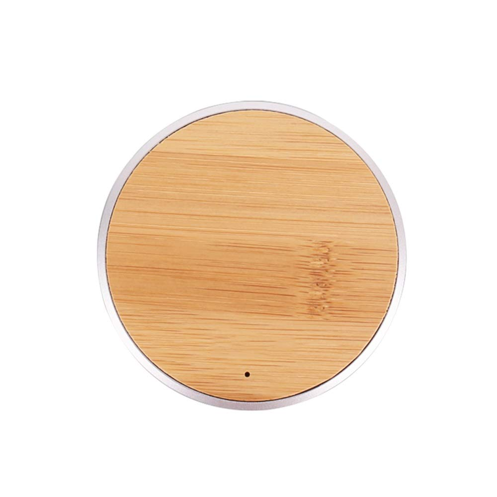 Exquisite Solid Wood 10W Mobile Phone Fast Charging Wireless Charger Living Room Bedroom Study Creative Decoration Simple Wooden Craft Gift (Color : Yellow)