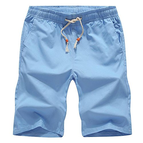 2019 Beach Shorts Homme Quality Bottoms Elastic Waist Fashion Brand Boardshorts Plus Size 5XL,Sky Blue,5XL