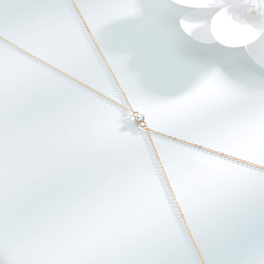 Tgirls Dainty Crystal Bikini Body Chain Bra Gold Body Jewelry for Women and Girls