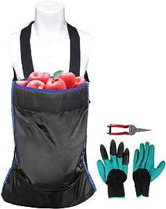 ESINGMILL Fruit Picking Bag, Heavy Duty Adjustable Harvest Garden Apron, Large Storage Pouch with Scissor and Gloves for Harvesting Vegetables Fruits Apple Mango Pear Peach Mango Kiwi Lemon Cherry
