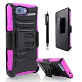 Xperia Z3 Compact Case /Xperia Z3 mini Combo Rugged Shell Cover Holster with Built-in Kickstand and Holster Locking Belt Clip Pink + Circle(TM) Stylus Touch Screen Pen (Not Compatible with Regular Sony Xperia Z3 Or Sony Xperia Z3V )
