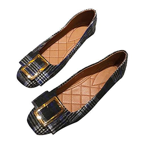UE la Mujer Zapatos Zapatos el Trabajo Moda Boca Planos 38 Embarazada de Zapatos Baja Zapatos 39 La cómodos de Escocesa Casuales Europea Zapatos y FLYRCX otoño Primavera EU Tela Solos de de nxCwT1tq8H