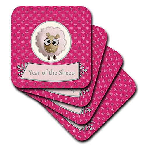 (3dRose Beverly Turner Chinese New Year Design - Cule Felt Look Sheep on Sign of the Sheep, Chinese Year of the Sheep, Pink - set of 4 Coasters - Soft (cst_184102_1))