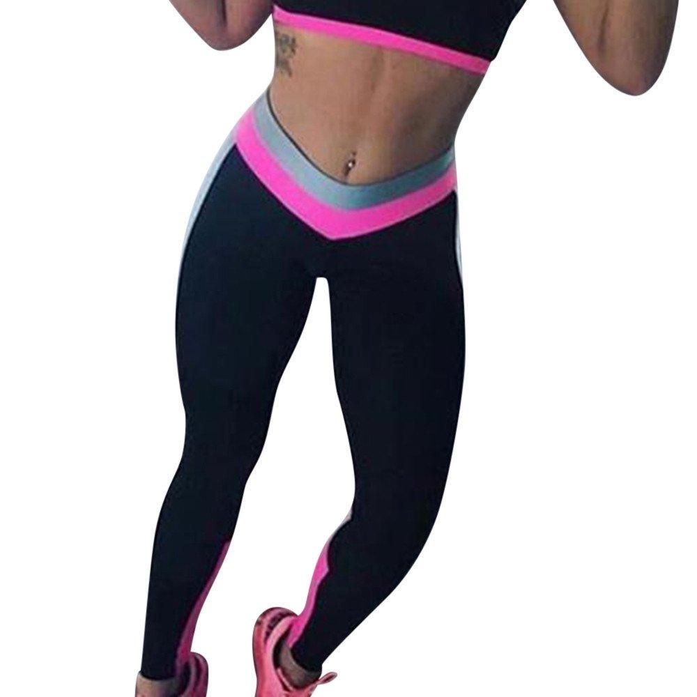 VPASS Mujer Pantalones,El/ásticos Patchwork Moda Pantalones de Yoga Mujer Fitness Mallas Gym Yoga Slim Fit Pants Largos Pantalones Leggings Cintura Alta Deportivos Running Aptitud Jogging Pantalon