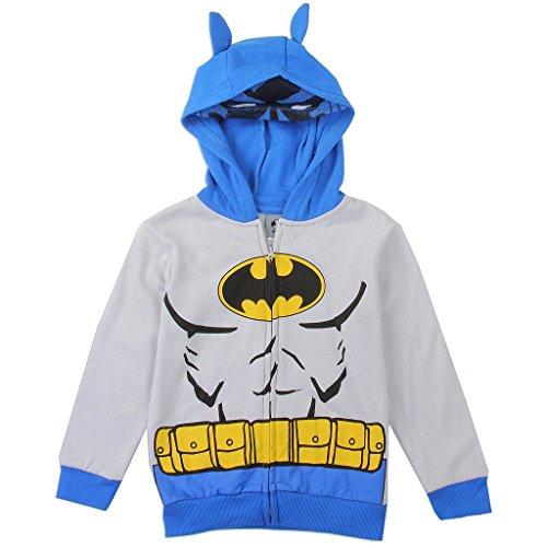Toddler Fleece Bat Costumes (Warner Brothers Little Boys' Toddler' Batman Costume Hoodie, Grey, 4T)