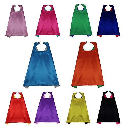 iROLEWIN 10 Superhero Party Double Sides Capes Reversible Dual Color For Kids Dress-Up Gift