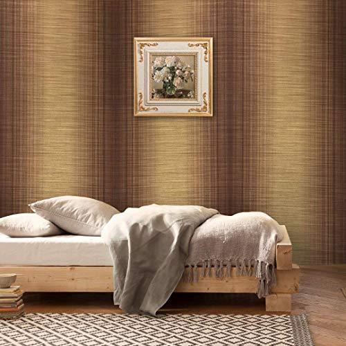 76 sq.ft Rolls Portofino wallcoverings Textured Modern Embossed Vinyl Wallpaper Gold Brown Bronze Brass Metallic Stria Lines Stripes Faux Grass Cloth Fabric Striped Design Textures Plain Plaid 3D