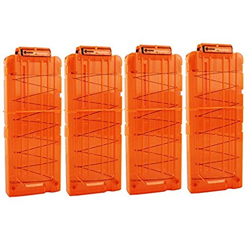 FUCAS Soft Bullet 4pcs Clips 12 Bullets Dart Gun Clips Magazine Clip For Nerf Toy Dart Gun (Transparent Orange)
