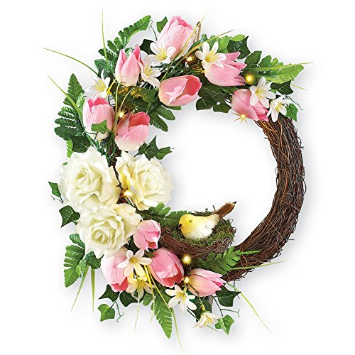 Pre lit Tulips Wreath Battery Operated