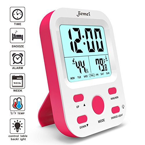 - jiemei Alarm Clock Battery Operated, Digital Alarm Clocks for Kids and Adults, Snooze Function, LCD Big Display, Smart Backlight (Pink)