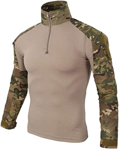 Camisa táctica de combate para hombre, de camuflaje, manga larga, militar, con cremallera de 1/4