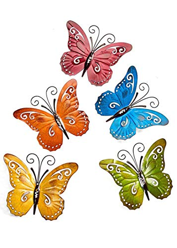 (Giftcraft Indoor/Outdoor Wrought Iron Butterfly 5pc Wall Decor)