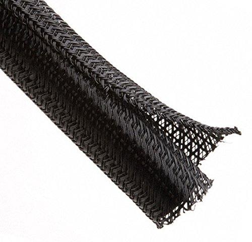 TechFlex F6N1.50BK Flexo F6 General Purpose 1 1/2-inch Braided Cable Sleeve, Black - 25 Feet