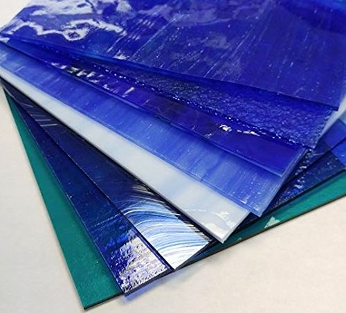6''x8'' Blue Variety Stained Glass Pack by Stallings Stained Glass