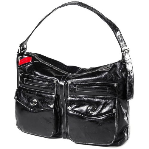Black Glazed Leather Messenger (Clava Kiki Messenger SlingShoulder Bag - Glazed Black)