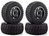 4x4 truck tires - Apex RC Products 1/10 Short Course Truck Black Split 6 Spoke Wheels &Scorcher Tires - Set Of 4#6206