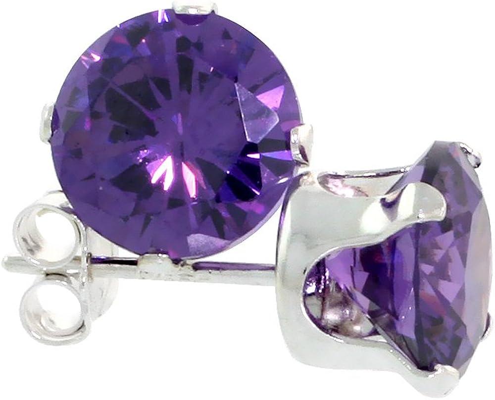 Sterling Silver 7mm Princess Cut CZ Stud Earrings Assorted Birthstone Colors 4 carat//pr