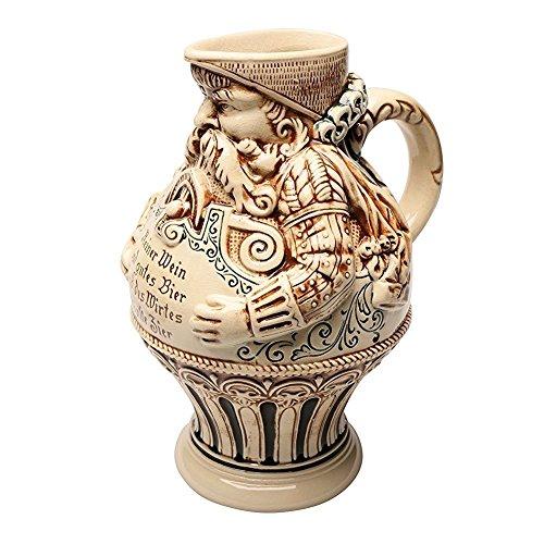 German Bartmann Krug Stoneware Beer Jug 2 Liters Antique - Jugs Antique Stoneware