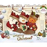 Outgeek Christmas Stocking Cute Santa Claus Snowman Elk Gift Bag Stocking Christmas Hanging Stocking