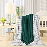 COLORSUM Flannel Fleece Throw Blanket 60 x 80 inch Printed Soft Plush Blanket for Bedroom Living Room Couch Bed Sofa - White Wood Green Tie Window Design