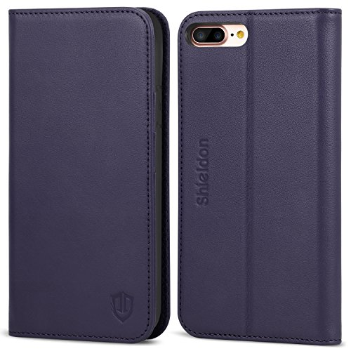 iPhone 8 Plus Case, iPhone 7 Plus Wallet Case, SHIELDON Genuine Leather iPhone 8 Plus Flip Magnetic Cover Card Slots Holder Kickstand TPU Shockproof Case Compatible iPhone 7 Plus - (Purple Leather Cell Phone)