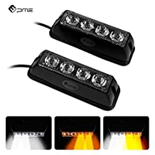 PME Emergency Strobe Flash Light, 4-LED White Amber Waterproof Warning Light for Car Truck SUV JEEP 19 Flash Patterns (2PACK)