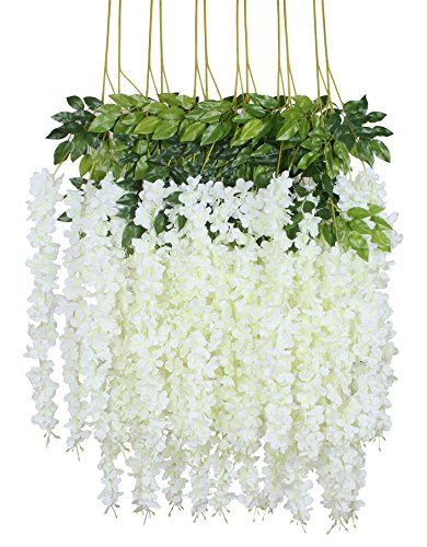 Duovlo 12 Piece Artificial Silk Wisteria Vine 3.6 Feet Ratta Hanging Flower Garland String Home Party Wedding Decor (White)
