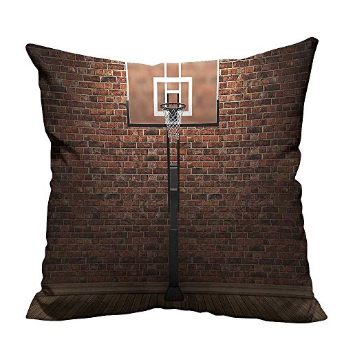 YouXianHome Pillow Case Cushion Cover Brick Wall Basketball Hoop Door Tra Exercis Stadium Picture Brown Printing Dyeing (Double-Sided Printing) 19.5x26 inch]()