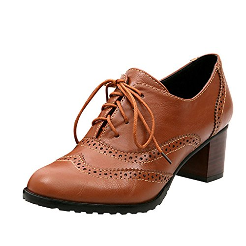Shoes Brown Mid Oxfords Shoes Heel Dear Time Womens Lace up Brogue wvIznqBCTx