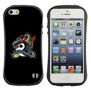 "Pulsar iFace Series Tpu silicona Carcasa Funda Case para Apple iPhone SE / iPhone 5 / iPhone 5S , Dragon Tattoo Graffiti Negro Yin Yang"""