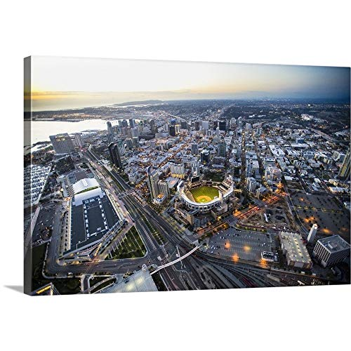 (Copter Pilot Solid-Faced Canvas Print Wall Art Print Entitled Petco Park and Downtown San Diego 36