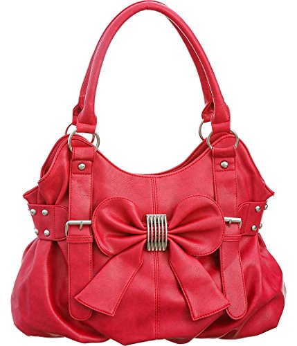 Laurel&Sunset Missy Bow Candy Red Pleated Shoulder Tote Bag