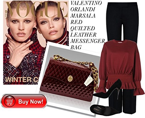 Messenger Quilted Burgundy Leather Valentino Purse Designer Orlandi Italian Bag xnq0wvpf