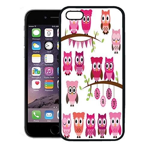 Pink Collection Birth Announcement - Semtomn Phone Case for iPhone 8 Plus case,Pink Cute Collection of Girl Baby Owls and Branches Blue Tree Family iPhone 7 Plus case Cover,Black