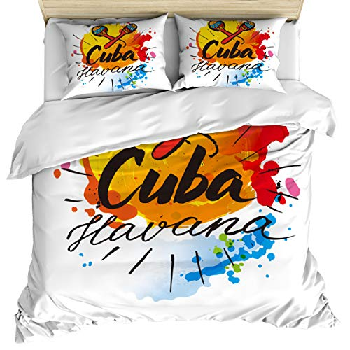 Havana 3 Piece Bedding Set Comforter Cover Queen Size, Cuban Culture and Attractions Concept Caribbean Colorful Voice Tube, Duvet Cover Set Bedspread Daybed with Zipper Closure for Kids/Teens/Adults