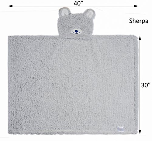 Kids Hooded Blanket,Cute Animal Bear Plush Sherpa Fleece Bath Throw,Fit 3-10 Years Old,Best Gifts for Boys and Girls by softan (Image #2)