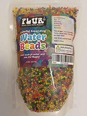 PLUR Water Beads Colorful Rainbow Mix 8 oz. Thousands of Beads Vase Filler Sensory Fun!